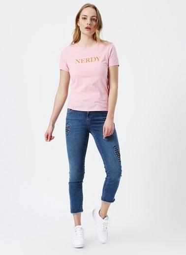 Only Only Yazılı Pembe T-Shirt Pembe